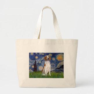 星明かりの夜-アメリカFoxhound ラージトートバッグ