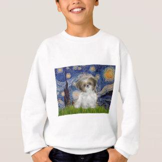 星明かりの夜-シーズー(犬)のTzuの子犬 スウェットシャツ