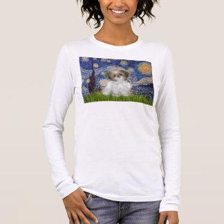 星明かりの夜-シーズー(犬)のTzuの子犬 Tシャツ