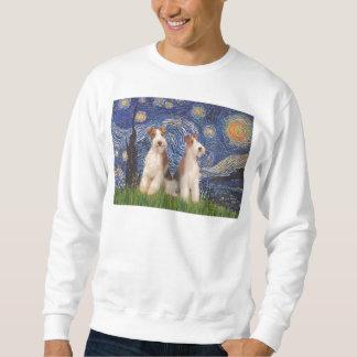 星明かりの夜-二線式のフォックステリア犬 スウェットシャツ