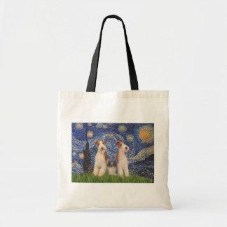 星明かりの夜-二線式のフォックステリア犬 トートバッグ