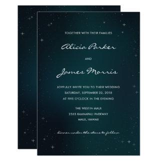 星明かりの夜-星の結婚式招待状の下の… カード