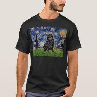 星明かりの夜-黒い中国語Shar Pei Tシャツ