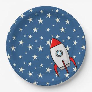 星明かりの空の脂肪質のロケットの船 ペーパープレート