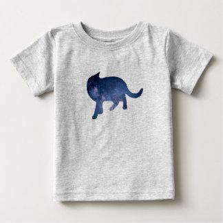 星明かりの空の銀河系猫のシルエット、猫夜ワイシャツ ベビーTシャツ