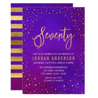 星明かりの紫色の水彩画の第70誕生日の招待状 カード