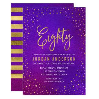 星明かりの紫色の水彩画の第80誕生日の招待状 カード