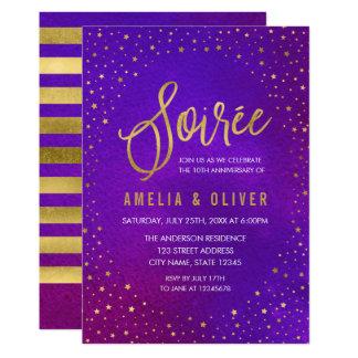 星明かりの紫色年の夜会記念日 カード