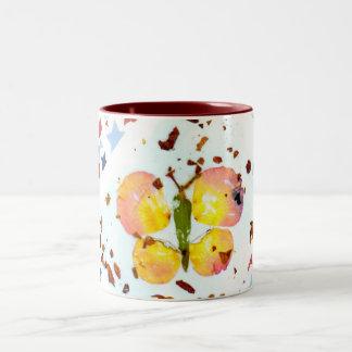 星明かりの蝶-15ozあずき色の陶磁器のコーヒー・マグ ツートーンマグカップ
