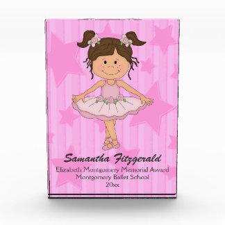 星条旗のかわいいピンクのバレエの女の子 表彰盾