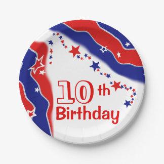 星条旗のカスタムの第10誕生日 ペーパープレート