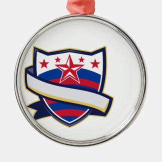 星条旗のリボンが付いている盾 メタルオーナメント