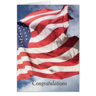 星条旗の旗のお祝いの挨拶C カード