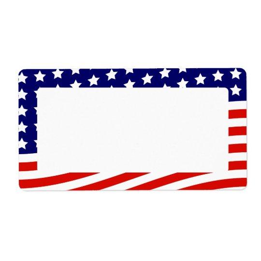 星条旗の米国旗7月4日 発送ラベル
