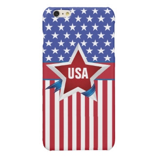 星条旗米国のモノグラム 光沢iPhone 6 PLUSケース