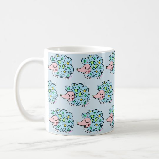 星柄のヒツジ(青) コーヒーマグカップ