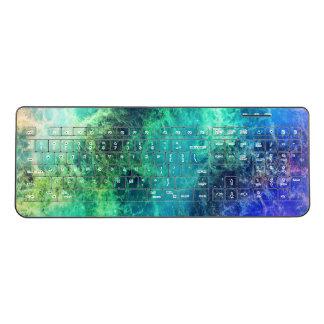 星雲の青緑の炎の宇宙 ワイヤレスキーボード