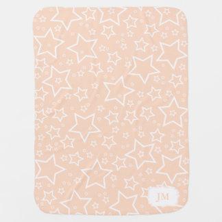 星|のモモおよび白のベビーブランケット ベビー毛布