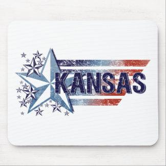 星-カンザスが付いているヴィンテージ米国の旗 マウスパッド