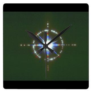 星。 (星; 宇宙; クローズアップ; ライト; _Space場面 スクエア壁時計