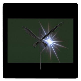 星。 (星; 宇宙; クローズアップ; light_Space場面 スクエア壁時計