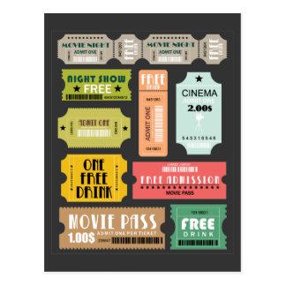 映画入場のチケット ポストカード