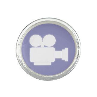 映画用カメラアイコン(薄紫および白) 指輪