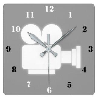映画用カメラ(白黒数)の柱時計 スクエア壁時計