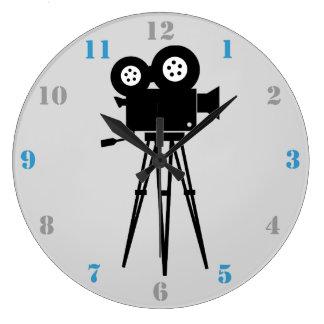 映画用カメラ(青および灰色数と) ラージ壁時計