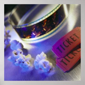 映画館のフィルム、ポップコーン及びチケット ポスター