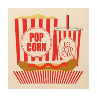 映画館の印のポップコーンのソーダホットドッグ ウッドウォールアート