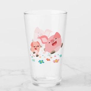 春だ!-かわいい漫画の豚2頭 タンブラーグラス