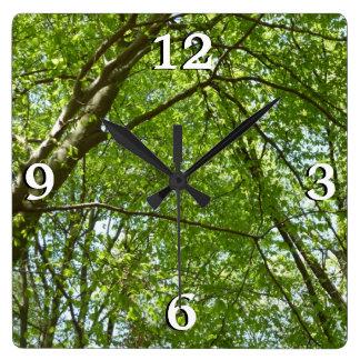 春のおおいは緑の自然場面を去ります スクエア壁時計