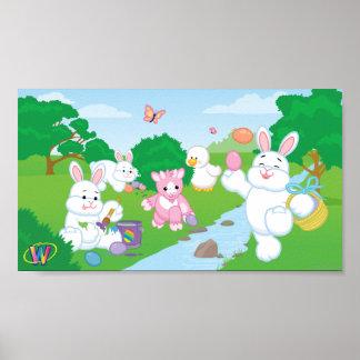 春のお祝いの卵の狩り ポスター