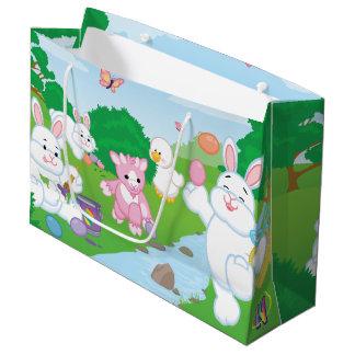 春のお祝いの卵の狩り ラージペーパーバッグ