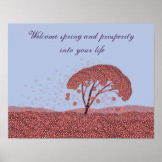 春のお祝いポスター。 桜の紫色ポスター ポスター