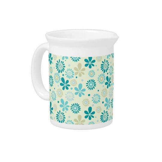 春のかわいいティール(緑がかった色)の青の抽象芸術の花模様 ピッチャー
