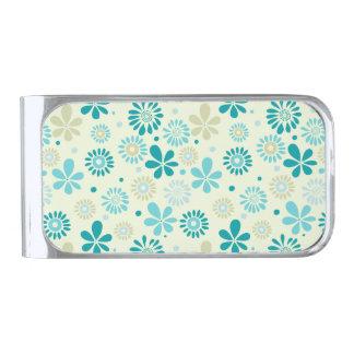 春のかわいいティール(緑がかった色)の青の抽象芸術の花模様 銀色 マネークリップ