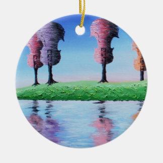 春のひもの円形のクリスマスのオーナメント2012年 セラミックオーナメント