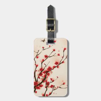 春のアジアスタイルの絵画のプラム花 ラゲッジタグ