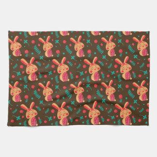 春のイースターのウサギパターン キッチンタオル