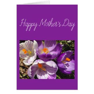 春のクロッカスの幸せな母の日カード カード