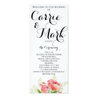 春のシャクヤクの結婚式プログラム 10.2 X 23.5 インビテーションカード