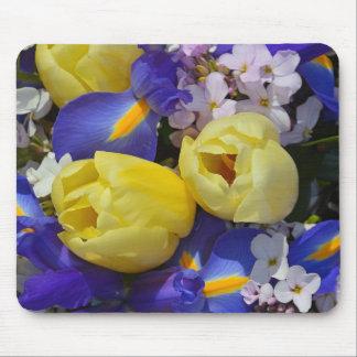 春のチューリップおよびアイリス花のmousepad マウスパッド
