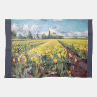 春のチューリップの花の花の印象主義の芸術 キッチンタオル