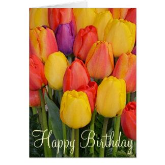 春のチューリップの誕生日の挨拶状 カード
