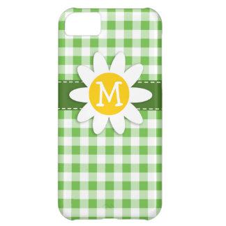 春のデイジー; 市松模様になる緑; ギンガム iPhone5Cケース