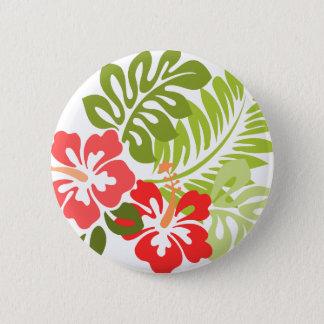 春のピンクおよび赤いハイビスカスによってはハワイが開花します 5.7CM 丸型バッジ