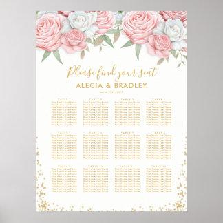 春のピンクの金ゴールドの花の結婚式の座席の図表 ポスター