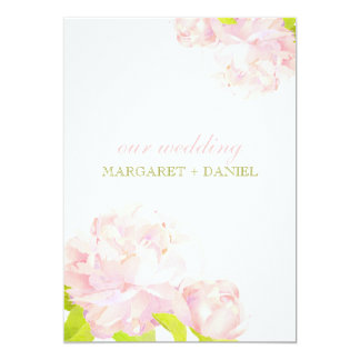 春のピンク + 緑のボヘミアのシャクヤクの結婚式 カード